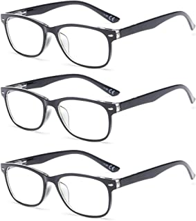 SUERTREE Anti Blue Reading Glasses 3 Pack Yellow Tint Computer Glasses Men Women Comfort Anti Rays Fashion Eyewear BM161 1.0X