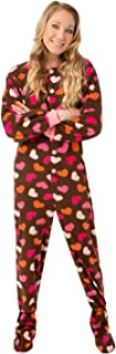 Womens Brown Fleece w/Pink Hearts Adult Footed Pajamas No Drop-seat Onesie