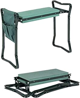 Hooyi Folding Garden Kneeler and Seat with Tool Pouch Bag Thick Kneeling Pads Soft Decorative Garden Stools Workseats Portable Outdoor Foldable Kneeler Tools Bench