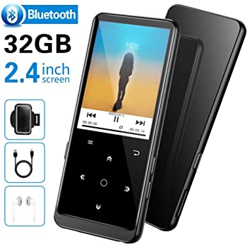 "32GB MP3 Player, SUPEREYE MP3 Music Players with Bluetooth 4.2, MP3 Players with FM Radio and Voice Recording, 2.4"" Screen, HiFi Lossless Sound, Support up 128GB(Earphone, Sport Armband Included)"