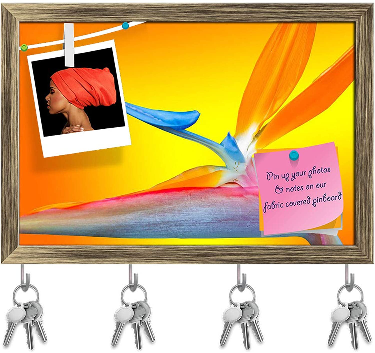 Artzfolio Paradise Flower Key Holder Hooks   Notice Pin Board   Antique golden Frame 17.6 X 12Inch