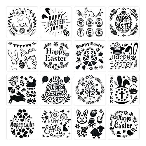 lijun 16er Pack Ostern Malerei und Zeichnung Schablonen Vorlagen Kunststoff Handwerk für Kinder
