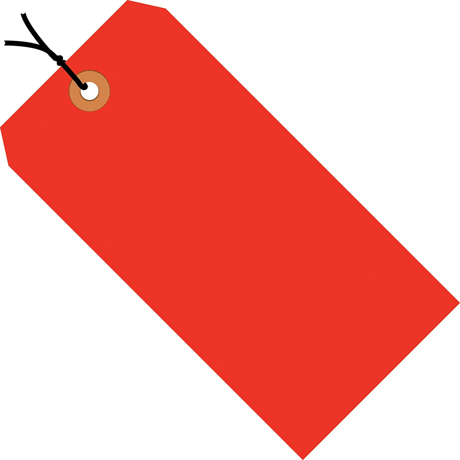 Fluorescent Red Shipping Tags, Strung, 13 Pt, 5 1/4