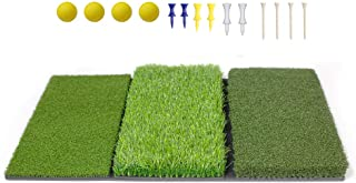 TRUEDAYS Tri-Turf Golf Hitting Mat, Portable Golf Practice Mat with Tees and Foam Balls for Backyard, Driving and Chipping Training