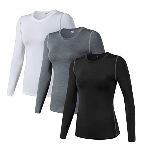 7026f15b0606ad WANAYOU Women s Compression Shirt Dry Fit Long Sleeve Running Athletic  T-Shirt Workout Tops