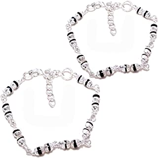 4e8773214 Sahiba Gems Exclusive Pure 925 Sterling Silver With Silver Beads Nazariya  Baby Bracelets/Kada/