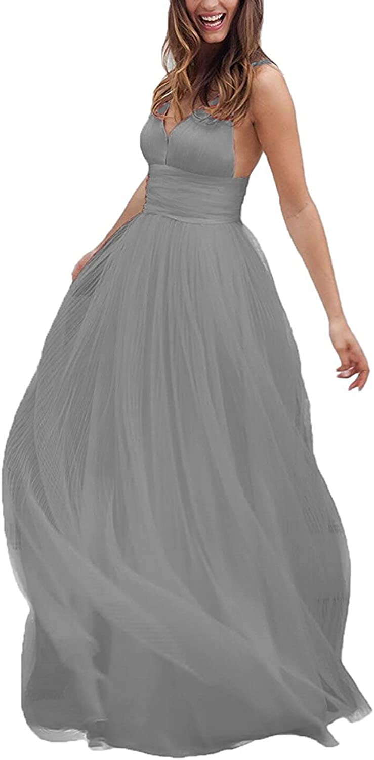 Dannifore VNeck Tulle Wedding Dress Long Prom Evening Gown Backless