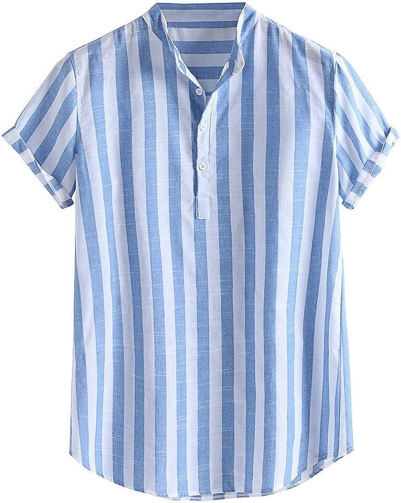 Holzkary Men's Fashion Multicolor Stripe Henry Collar Short Sleeve Loose Shirts