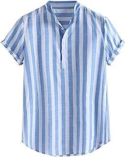 SANFASHION Men Shirt Short Sleeve Summer Stripe Top Loose Fit Casual Lightweight Breathable Comfy Soft Cotton Linen Retro