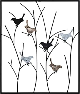 Lechesis Metal Bird Wall Art Decor, Flying Birds Perch on Branches with Frame Metal Hanging Wall Sculptures 25