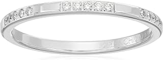 14k White Gold 2mm Band with Three Groups of Pave Set Diamonds Stackable Ring