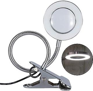 Lámpara Lupa LED, Lámpara de escritorio portátil estética blanca con Iluminación para cuidado de la piel lupa de belleza tatuaje para uso en salón