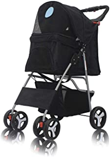 Pet Stroller Dog Cat Small Animals Foldable 4 Wheels Carrier Cage for Jogging Travel with Sun Shade, Cup Holder, Mesh Wind...