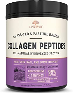 Collagen Peptides - Hair, Skin, Nail, and Joint Support - Type I & III Collagen - All-Natural Hydrolized Protein - 41 Servings