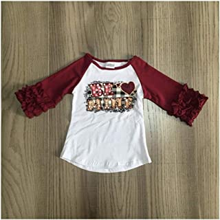 Toddler Little Baby Baby Girl Clothes Girls Fall/Spring Raglans Girl Top Girls Moon Shirt Girls Top with Ruffled Sleeve,Comfy for All Day wear (Color : Brown, Kid Size : 6T)