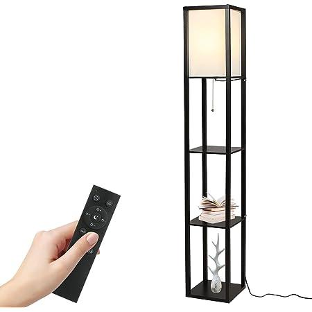 Tomshine Lampe sur pied avec étagère en bois avec télécommande 1,6 m (ampoule incluse et ampoule max. 100 W) [Classe énergétique A+] (noir)