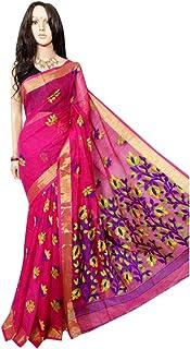 f83b609f75 Hanloom silk khadi jamdani Saree Full weaving work by weavers traditional  Bengal Women sari Indian Ethnic