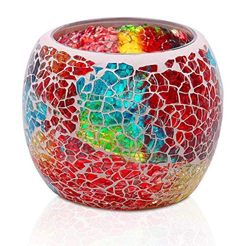 Larcenciel Teelichthalter Teelichtaufsatz aus Glas Glasaufsatz für Kerzenleuchter - Kerzenständer - Adventskranz (Bunt)