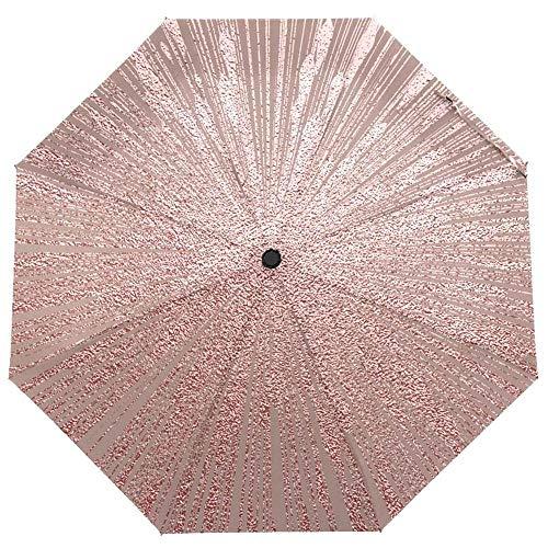 BGHYU Elegante Metalizado Brillante Textura Paraguas Lluvia Mujer Paraguas protección Sol Tres Plegable Paraguas automático Macho Parasol (Color : Umbrella)