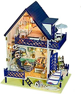 IN Kit De Bricolaje En Miniatura De Casa De Muñecas Hecha A Mano De Madera - Serie De Estilo Mediterráneo Casas De Muñecas De Madera con Muebles Muebles