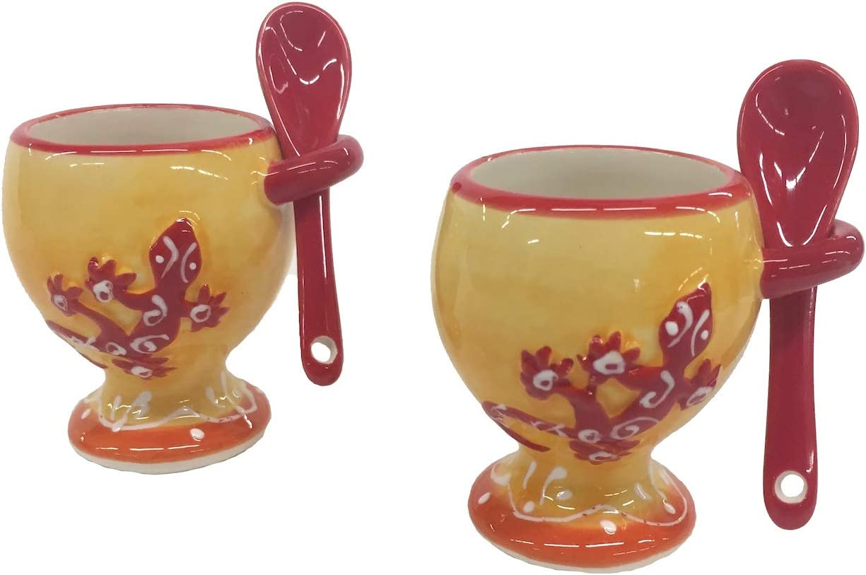 Outlet ☆ Free Shipping Terre Set 2 Gecko French Designed with Spoon Egg Financial sales sale Holders Cup