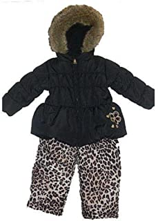 Pacific Trail Infant Girls Black Leopard Snowsuit Ski Bibs Coat Set 9m