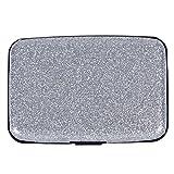Glitter Bling Aluminum RFID Blocking Wallet Slim Hard Metal Credit Card Holder Silver