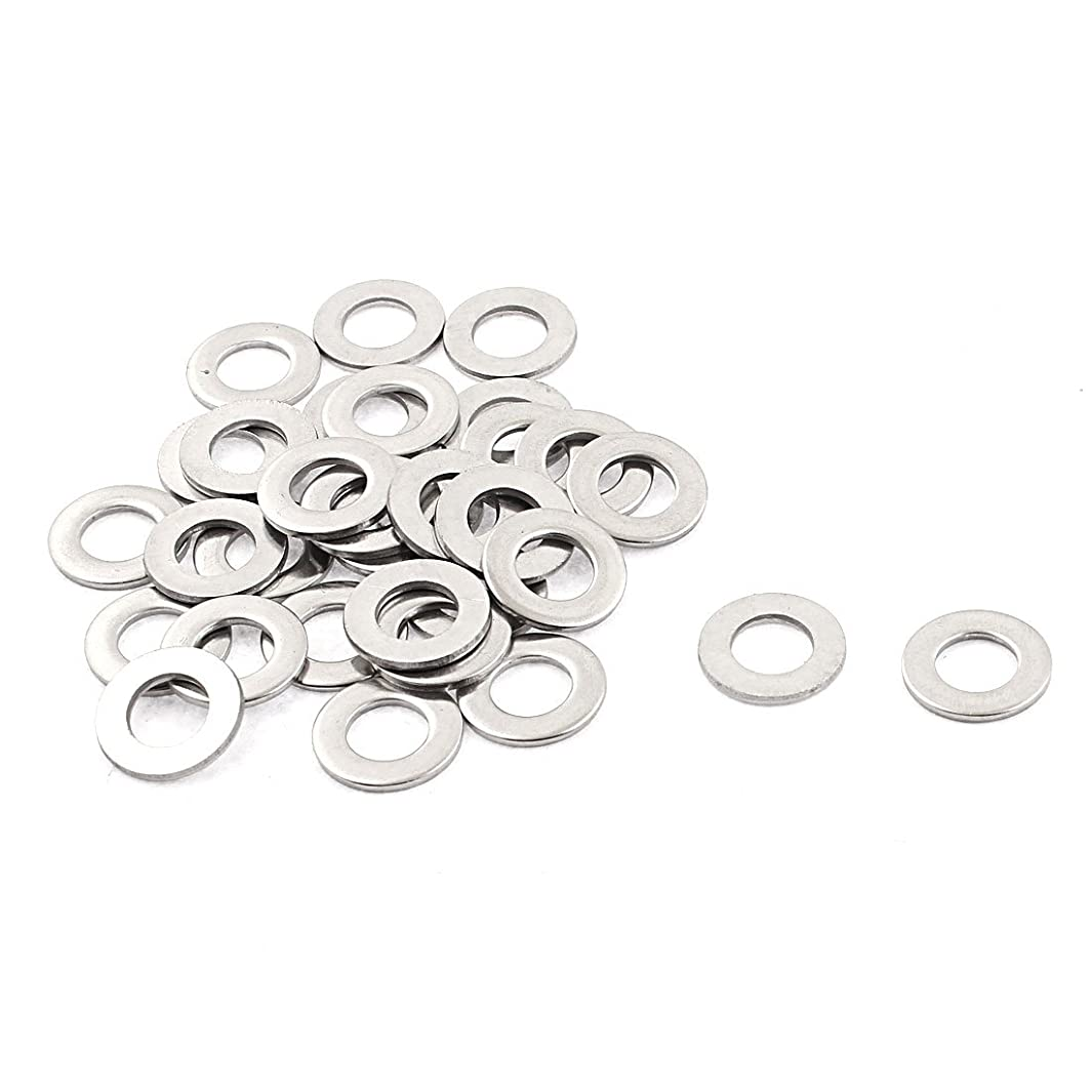 uxcell M8 x 16mm x 1.6mm Stainless Steel Flat Washer Gasket Silver Tone 32pcs