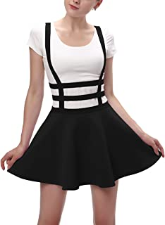Womens Elastic Waist Pleated Short Braces Skirt