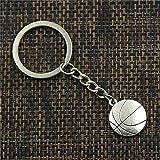 PXN Portachiavi con Ciondolo da Basket a Doppia Faccia Portachiavi in Metallo con Catena da Uomo in Argento
