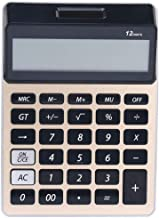 $61 » Calculator Calculator Electronic Desktop Calculator with 12 Digit Large Display Solar Battery LCD Display Office Calculator-Random Standard Calculator (Color : Gold)