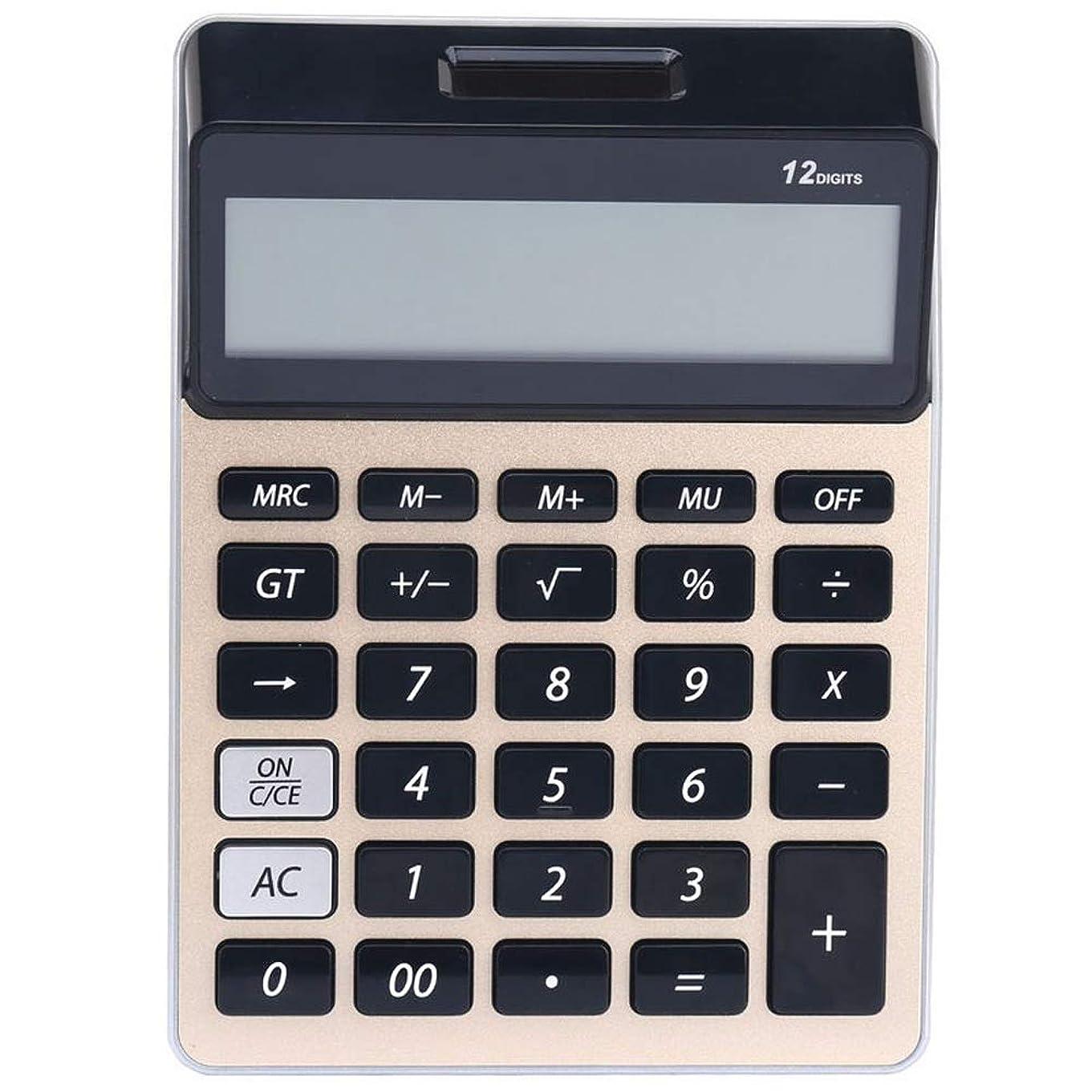 チョップ受益者例電卓 12桁の大型ディスプレイ、太陽電池のLCDディスプレイオフィス電卓と電卓電卓電卓 ビジネス電卓 (色 : ゴールド)