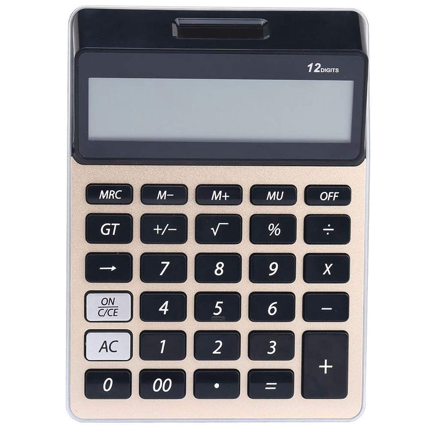 不倫ベール単調な電卓 12桁の大型ディスプレイ、太陽電池のLCDディスプレイオフィス電卓と電卓電卓電卓 ビジネス電卓 (色 : ゴールド)