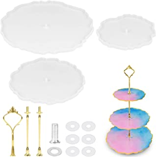 3 Tier Cake Stand Resin Molds, Dveda Round DIY Reusable Silicone Fruit Cake Trays, Dessert Tray Resin Mold for Making Cupcake Fruit Dessert Serving Stand (Gold)