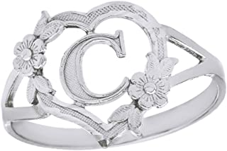 CaliRoseJewelry Silver Initial Alphabet Personalized Heart Ring - Letter C