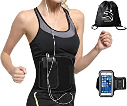 FITNESS SPORTS Waist Trimmer Belt Slim Body Sweat Wrap and Back Lumbar Support, Arm Bag and Drawstring Bag for Free