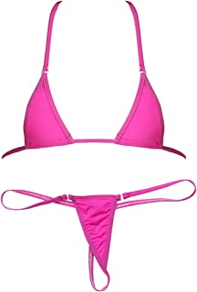 Womens Extreme Bikini 2 Pieces Set Halterneck Tops Micro Thong Swimwear