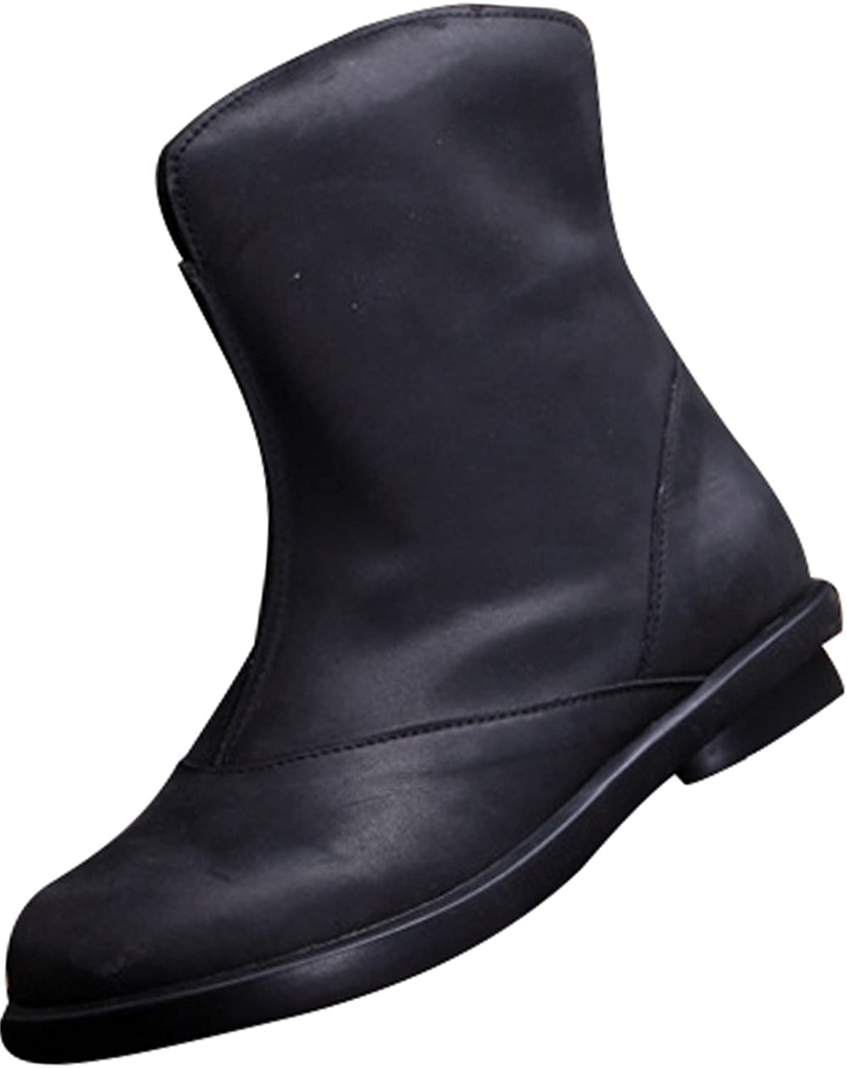 Zoulee Women's Autumn Winter Leather Flat Short Boots Warm Boots