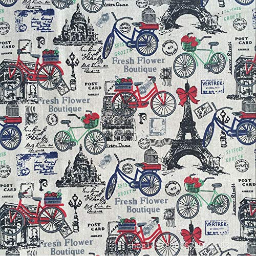 Sheicon Paris Eiffel Tower Print Fabric by The Yard 60' Wide French Romance Vintage Decorative Fabric for Upholstery and Home Accents Color Tower Bike Size 1 Yard