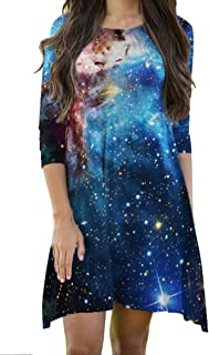 LaSuiveur Cnewneck 3 4 Sleeves Outer Space Galaxy Dress for Girls and Women
