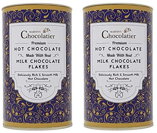 Martins Chocolatier   2 Pack   Milk Hot Chocolate Flakes Luxe Drinking Chocolate Gemaakt van Real Belgian Chocolate…