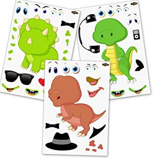 24 Make A Dinosaur Stickers for Kids - Great Dino Theme Birthday Party Favors - Fun DIY Craft Project for Children 3+ Let ...