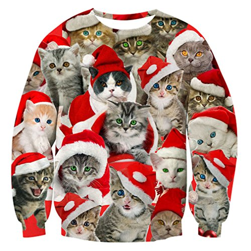 RAISEVERN Unisex Cute Ugly Christmas Cat Red Santa Hat Print Pullover Sweater Sweatshirt for Women Men, 2017 Style Christmas Cat 4, XX-Large