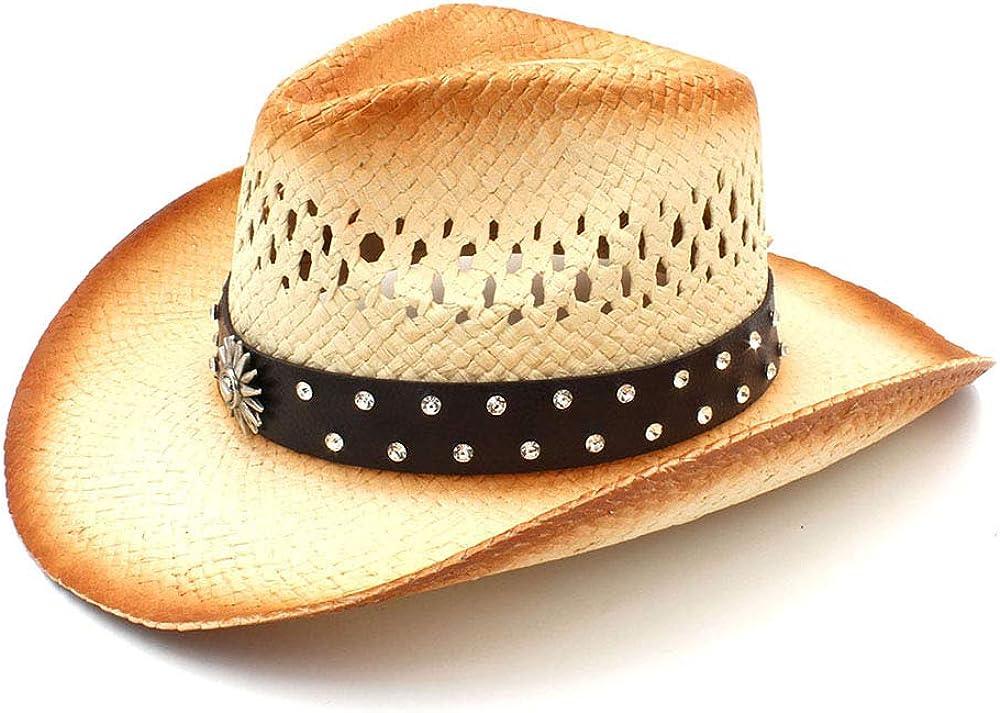 PANFU Women Men Western Cowboy Hat With Punk Leather Ribbon Lady