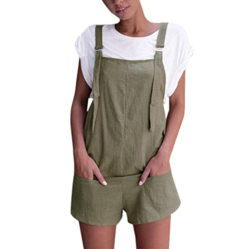 8457a8977f Women Overalls and Jumpers Elastic Waist Dungarees Linen Cotton Pockets  Rompers Jumpsuit Denim Shorts Pants