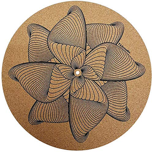 TazStudio premium Cork Turntable Mat for Better Sound Support on Vinyl LP Record Player - Original Geometric Design Psychedelic Geometric Spiral lines [4mm Thick]