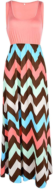 2 Pieces,Women's Summer Boho Long Maxi Dress Striped High Waist Sleeveless Beach Wear Evening Party,lightorange,L