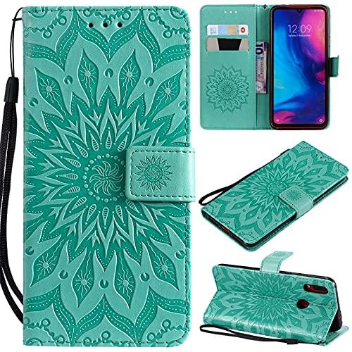Liluyao Funda telefónica para Xiaomi Estuche de Cuero con diseño Horizontal para Xiaomi Redmi Note 7, con Ranura para Tarjetas y Soporte, Billetera y cordón (Color : Green)