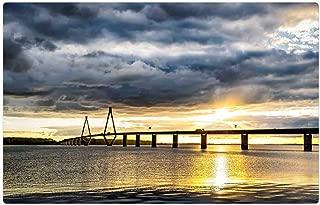 Tree26 Indoor Floor Rug/Mat (23.6 x 15.7 Inch) - Baltic Sea Bridge Denmark Sea Bridge Sunset