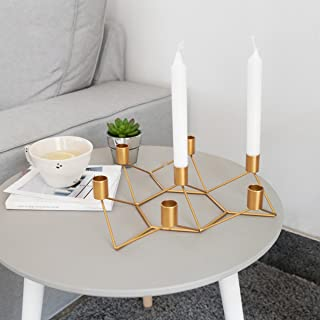 Laugh Cat Modern Geometric Lines Taper Candle Holders 7 Arm Metal Votive Candelabra Candlestick Holder Idea Gift for Dinner Party Wedding Decoration